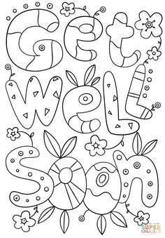 Get Well Soon coloring pages printables | Kid stuff | Pinterest ...