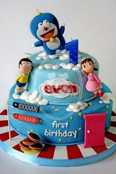 Doraemon Boys Bday Cakes, Baby Boy Cakes, Cakes For Boys, Birthday Cake, Doraemon Cake, Beach Cakes, Hello Kitty Birthday, Printable Birthday Invitations, Fancy Cakes