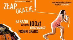 Za każde wydane 100 zł na kulturystyka.sklep.pl otrzymasz próbki topowych preparatów dla kulturystów: 100 zł - 1 próbka, 300 zł - 3 próbki, itd... http://www.kulturystyka.sklep.pl/