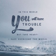 "These things I have spoken to you, that in Me you may have peace. In the world you will have tribulation; but be of good cheer, I have overcome the world."" John 16:33 NKJV"