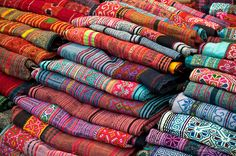 Woven Thai silk fabric for sale at the Night Market, Chiang Mai, Thailand - photo by Greg Vaughn