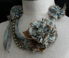 MARIE Teal Statement Floral Necklace by carlafoxdesign on Etsy Fiber Art Jewelry, Mixed Media Jewelry, Textile Jewelry, Fabric Jewelry, Jewelry Art, Beaded Jewelry, Handmade Jewelry, Jewelry Design, Jewellery