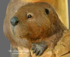 Woodcarving Carved Door Sculpture by MK Carving Canada / / bearver woodcarving Chainsaw Carvings, Beavers, Walking Sticks, Wildlife Art, Woodcarving, Custom Wood, Mammals, Woodworking Projects, Lion Sculpture