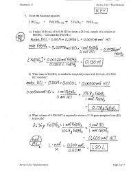 Moles and Mass Worksheet