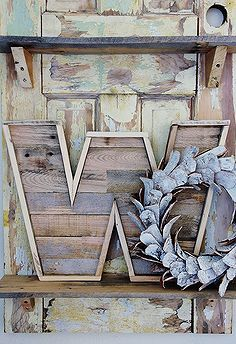 From Junk to Treasure how to make a wood pallet letter, diy, how to, pallet, woodworking projects, Here s the finished pallet wood letter I have it displayed on an door with a birch bark wreath