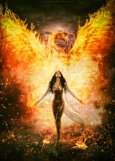 Image may contain: 1 person, standing, fire, night, text and outdoor Fantasy Art Women, Beautiful Fantasy Art, Dark Fantasy Art, Fantasy World, Fantasy Creatures, Mythical Creatures, Phoenix Artwork, Phoenix Wallpaper, Character Inspiration