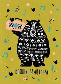 Erin Balzer Illustration - erin, balzer, erin balzer, wood printing, wood cutting, printing, licensing, card, happy, booming, birthday, trend, boombox, music, bear, character, pattern,