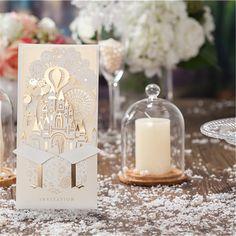 Aliexpress.com: Comprar 5 unids/lote moda oro de corte por láser de papel con Hollow Creative castillo tarjeta de invitación de boda del acontecimiento y del partido accesorios de laser cut cupcake papers fiable proveedores en Liou Fashion Accessories
