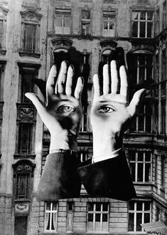 Herbert Bayer - Lonely Metropolitan, 1932    This sophisticated photomontage is simultaneously ominous and absurd in tone. The disembodied, hovering hands and eyes we associate with Surrealist attempts to evoke the dream-state of the subconscious mind. Artists like Bayer were at the cutting edge of photographic experimentation, assimilating ideas from a wide variety of sources including the technological advances of The Bauhaus alongside the political and philosophical revolution of…