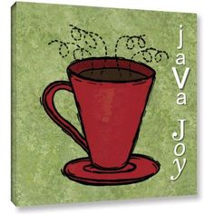 ArtWall Herb Dickinson Java Joy Gallery-Wrapped Canvas Art, Size: 24 x 24, Red