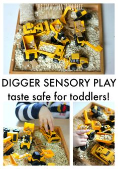 Make a simple taste safe digger sensory bin for toddlers and older babies using everyday kitchen materials! Wonderful for sensory exploration for little hands and the development of imaginative and role play too. Baby Sensory, Sensory Activities, Sensory Play, Infant Activities, Activities For Kids, Infant Sensory, Activity Ideas, Toddler Play, Toddler Preschool