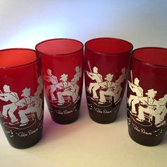 Set of four ruby red Hoe Down tumbler by FromTheSeller Red Glass, Pint Glass, Ruby Red, Tumbler, Hoe, 1950s, Handmade, Stuff To Buy, Hand Made