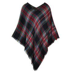 Classic Plaid Poncho Western Country Flannel Fryed Asymmetric Holidays Sweater  #modadorn #Poncho