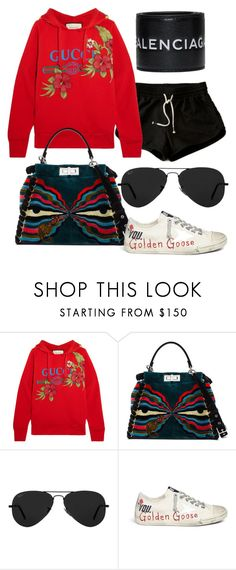 """""""Untitled #48"""" by jackiedunnee ❤ liked on Polyvore featuring Gucci, Fendi, Ray-Ban, Golden Goose and Balenciaga"""