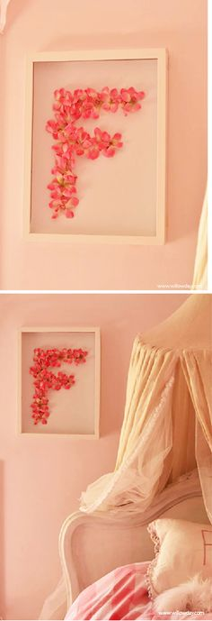 Framed Flower Monogram Art//willow day Could use pressed flowers from the garden......