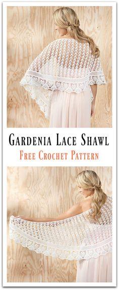 Gardenia Lace Shawl Free Crochet Pattern #Shawl #Crochet #Freepattern