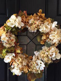 A personal favorite from my Etsy shop https://www.etsy.com/listing/246540534/fall-wreath-hydrangea-wreath