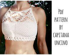 PDF-file for Crochet PATTERN, Luna cropped Crochet Top Sizes XS-L, bikini top