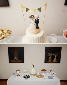 Adorable cake topper: I love the flags and that it has her glasses and his mustache.
