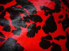 """Hair On Leather 8""""x10"""" Red and Black Spotted PONY Print Calfskin Cowhide 3.5-4oz/1.2-1.6mm PeggySueAlso"""