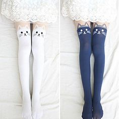 2015 New 4 Colors Nylon Cat Head And Tail Tattoo Stockings Lolita Velvet Women Sexy Knee Socks Tights Cute Printed Pantyhose Estilo Harajuku, Harajuku Mode, Harajuku Fashion, Kawaii Fashion, Thigh High Socks, Thigh Highs, Knee Socks, Cat Tights, Tattoo Tights