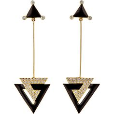 Hanut Singh Deco Triangle Drop Earrings ($8,400) ❤ liked on Polyvore featuring jewelry, earrings, accessories, brinco, joias, colorless, clear crystal earrings, triangle drop earrings, deco drop earrings and 18k earrings