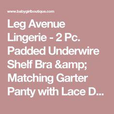 Leg Avenue Lingerie - 2 Pc. Padded Underwire Shelf Bra & Matching Garter Panty with Lace Detail & Layered Chiffon Ruffles