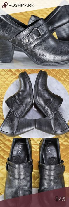 B.O.C by Born Black Ankle Booties Women's Size 7 Black leather heels by Born in excellent condition, worn gently only for a few occasions! They come in women's size 7.   *Our Posh Closet & eBay is how we provide for our children! If you appreciate old school quality - you're in the right place. We don't just sell products, we put time & work into them. We ship fast, usually within 1 business day! Enjoy! Born Shoes Mules & Clogs