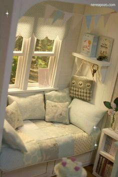 INSPIRATION, Miniatures:  window-seat vignette / repinned per Grace Lucas