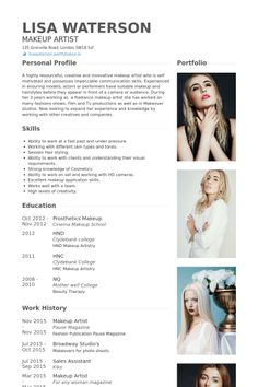 makeup artist resume example more - Example Of Artist Resume