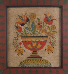 "David Y. Ellinger (American 1913-2003), watercolor fraktur, signed lower right, 15 1/2"" x 14"".  Estimate: $400–$800  Realized Price: $563"