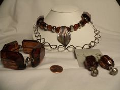 Necklace Bracelet and Earrings Set Chunky  Dark by CindyDidIt, $27.50