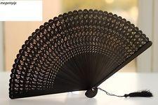 HIGH QUALITY RARE Chinese Japanese Folding Bamboo Pocket Flower Hand Fan Black