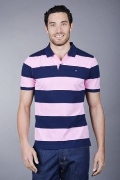 Eden Park Men's Africain Striped Polo Shirt Pink Navy Eden Park, Striped Polo Shirt, Ss 15, Button Down Shirt, Menswear, Men Casual, Stripes, Navy, Classic