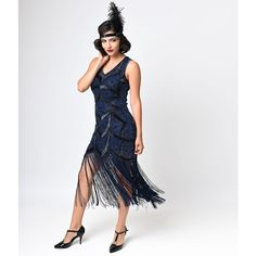 Iconic by Uv Black & Blue Beaded Mesh Isadora Fringe Flapper Dress ($268) ❤ liked on Polyvore featuring dresses, navy, sequin cocktail dresses, vintage doll dress, navy blue dress, vintage beaded cocktail dress and vintage dresses