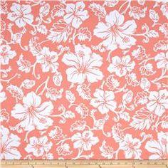 Swim Active Wear Hibiscus Hawaiian Floral Peach