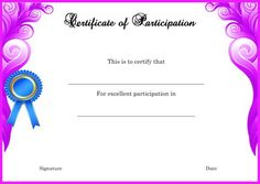 Template For Certificate Of Partcipation In Seminar  Certificate