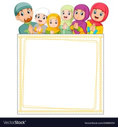 The happy family is giving the greeting of ied mubarak on the top of blank frame Premium Vector Happy Ied Mubarak, Kids Background, Vector Background, Sheep Vector, Islamic Cartoon, Islam For Kids, Powerpoint Background Design, Muslim Family, Borders For Paper