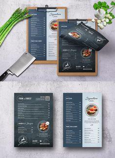 Siberia Elegant Minimal Menu Template PSD - and Pizza Menu Design, Cafe Menu Design, Menu Card Design, Food Menu Design, Food Poster Design, Stationery Design, Menu Restaurant, Restaurant Design, Restaurant Identity