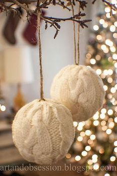 Cover styrofoam balls with lovely old sweater/clothing fabric to make some new Christmas ornaments!