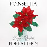 french beaded poinsettia pattern, french beaded flower tutorial, lauren's creations patterns, DIY holiday beading project,