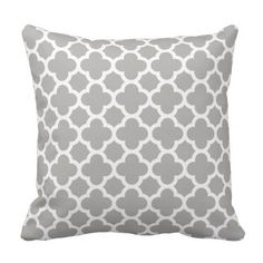 #elegant - #Quatrefoil Pattern Mid Grey Gray Throw Pillow