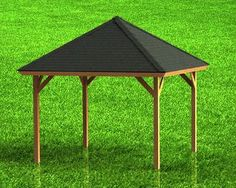 Hip Roof Gazebo Building Plans-Perfect for Hot Tubs - x Pergola Attached To House, Pergola With Roof, Outdoor Pergola, Pergola Kits, Outdoor Spaces, Building A Pergola, Building Plans, Gazebo Sale, Diy Gazebo