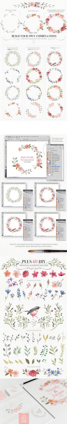 Watercolour Wreath Creator  -  https://www.designcuts.com/product/watercolour-wreath-creator/