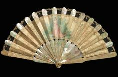 Mother-of-pearl, silk, gouache, and linen fan, 1890-1910. Courtesy of the Met.