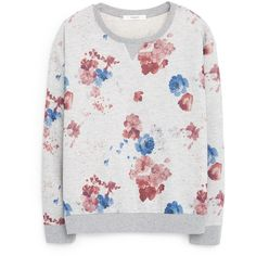 Mango Floral sweatshirt ($46) ❤ liked on Polyvore featuring tops, hoodies, sweatshirts, grey, women, round top, flower print tops, sweat tops, gray sweatshirt y long sleeve tops