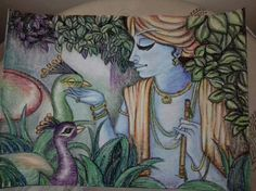 lord krishna with nature with oil pastels