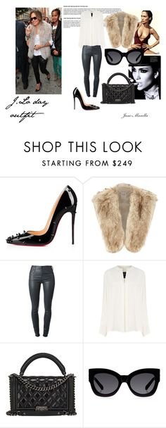 """""""J.Lo day outfit"""" by jane-marella ❤ liked on Polyvore featuring Christian Louboutin, Jennifer Lopez, Citizens of Humanity, Derek Lam, Chanel, Karen Walker, dayoutfit, fur and jenniferlopez"""
