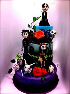 Tim Burton wedding/ birthday cake. Nightmare before Christmas. Jack Skellington, Edward Sissorhands, Alice in wonderland.  Jeremey just chose our wedding cake! <3