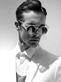 80fff5c25dfcdf Nick Steele wearing very COOL sunglasses while posing for a showstopping  new series by fashion and